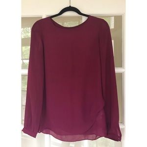 Banana Republic Burgundy Long Sleeve Blouse